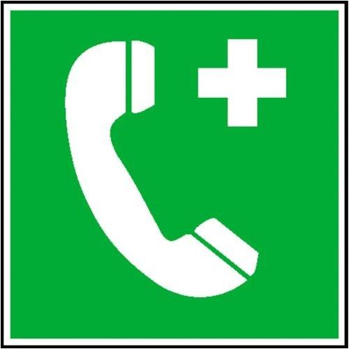 0302. Rettungsschild Notruftelefon Weich-PVC-Folie, selbstklebend, bedruckt Größe 20,00 cm x 20,00 cm