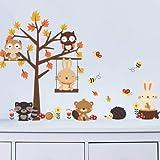 CMC Wald Eule Schmetterling Schaukel Kaninchen Eichhörnchen Wandaufkleber Tier Baum Für Kinderzimmer Kinder Baby Kinderzimmer Wohnkultur