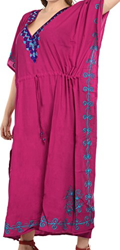 La Leela Designer vertuschen langen Strand Abendkleid Rayon Badebekleidung Badeanzug Kaftan Frauen Kimono Pink 1