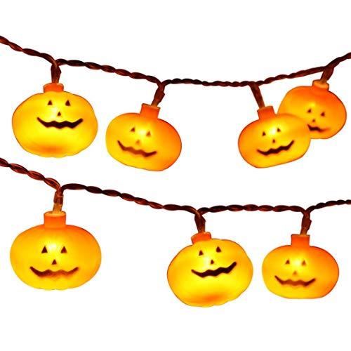 MMLC Halloween Party Geisterfest Kürbis LED Batterie Laterne String Dekoration Beleuchtung Lichter Halloween Pumpkin Light (Gelb)