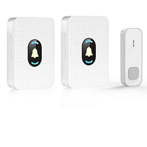 Aeeyui campanello senza fili,campanello wireless impermeabile,1 remote push button transmitter and 2 plug-in receivers,indicatore led,per casa, negozio, ufficio