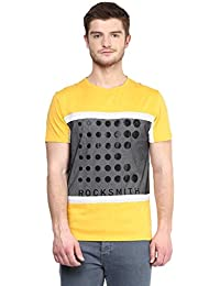 Wear Your Mind Yellow Cotton Round-Neck Printed T-shirt For Men TSS227.2