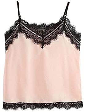 Vovotrade BorlaCollar en V Mujer Encaje sin mangas Crop Top Chaleco Camisa Blusa Rosa