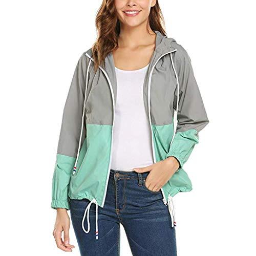 WWricotta Frauen Leichte Jacke Langarm Patchwork dünne Skins Suits mit Kapuze Reißverschluss Taschen Sport Mantel Sportbekleidung