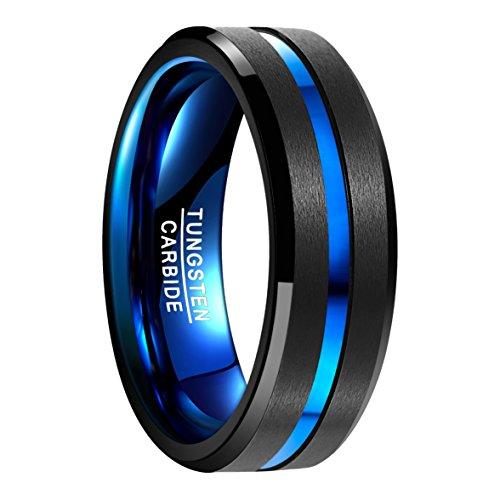 Nuncad Ring aus Hochwertigem Wolfram, Schwarz﹢Blau, polierte Oberfläche mit Blauem Groove, Außenbreite 8mm Bequem, Größe 62