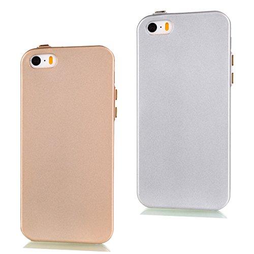 Crystal Skin Tpu Case (Uposao 2 in 1 Zubehör Set Schutzhüllen iPhone 5S SE Hülle TPU Case Schutzhülle Silikon Crystal Case Durchsichtig Cover Schale Handy Tasche Skin(Gold + Silber))
