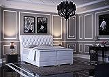 HG Royal Estates GmbH Baron Luxus Chesterfield Boxspringbett mit Bettkasten inkl LED Beleuchtung, Visco Topper, 7 Zonen Taschenfederkernmatratze, H3 Wei Kunstleder 180x200 cm