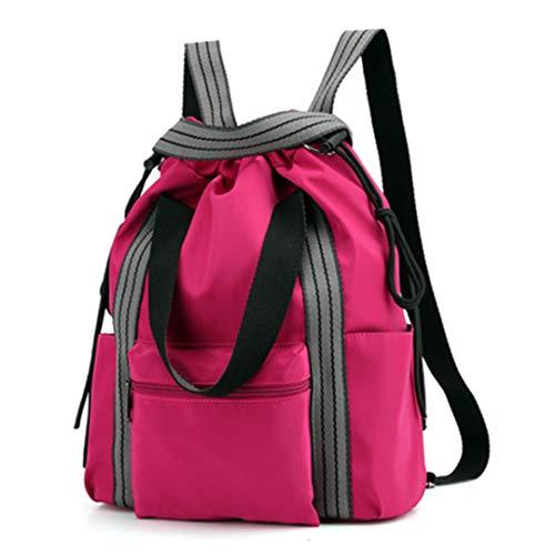 Nylon Yoga Matte Taschen Gym Fitness umhängetasche Rucksack Kordelzug gymtas für Frauen Style 1 Rose Red -