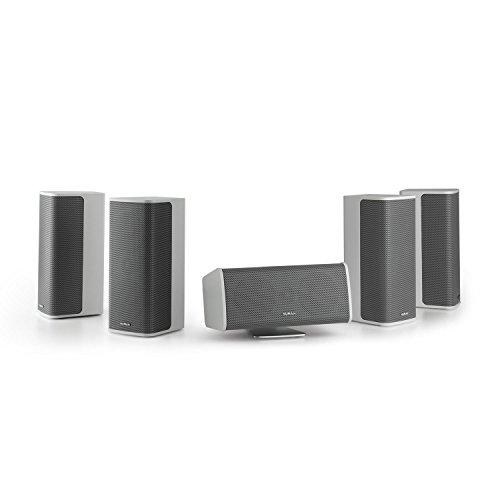 NUMAN Ambience 5.0-Lautsprecher-System • 5.0 Surround-System • Heimkino Set • 4 x Satellitenlautsprecher • je 60 W RMS • Center-Lautsprecher mit Aluminium-Standfuß • 30 m Lautsprecherkabel • weiß (Heimkino-surround-system)