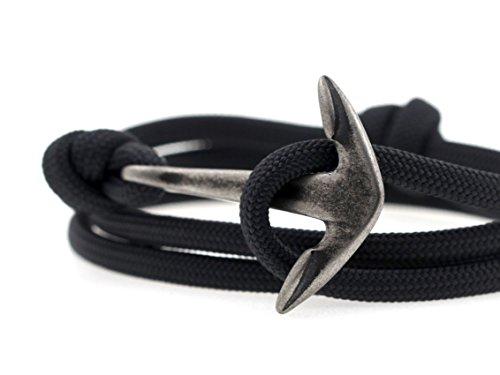 KOMIMAR Anker Armband ANTHRA N´ANTIQUE - Surferarmband - Edelstahl Anker - Massiv - Herren Armband - Damen Armband - Maritimer Schmuck - usedlook - Strandschmuck -Wickelarmband