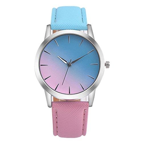 Flybuild, Analoge Armbanduhr für Damen, mit Quarzuhrwerk und Kunstlederband, Zweifarbig, Blue + Pink, Einheitsgröße
