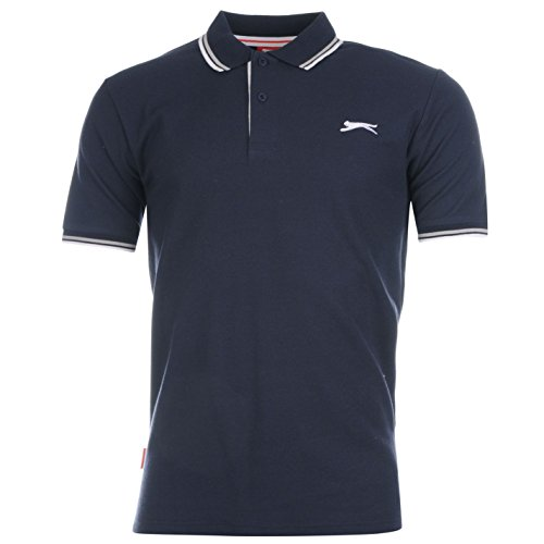 Slazenger Tipped Herren Polo Poloshirt T Shirt Kurzarm Classic Fit Tee Top L (L/s Tee Striped)