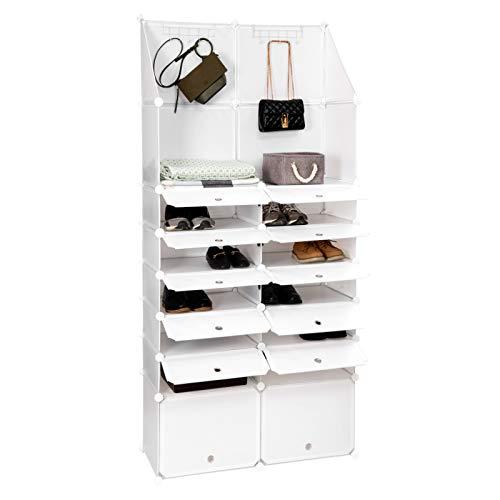 Woltu Sr0120ws Range Chaussures Cube Diy Avec Porte Etagere