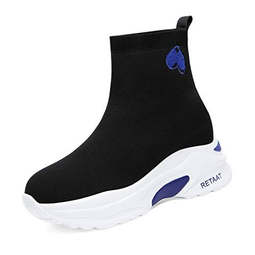 YAN Damenstiefel Mesh-Outdoor-Sneakers Hohe elastische Socken Komfort-Loafers (Farbe : EIN, Größe : 39) Flats Loafers Slip