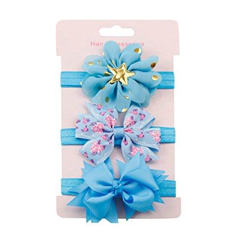 erthome Baby Haarnadel, Kinder elastisches Blumen Stirnband Haar Mädchen Baby Bowknot Haarband Set 3Pcs (Blau)