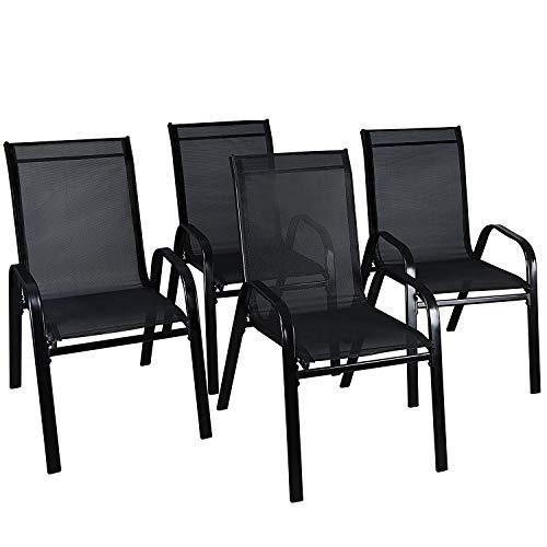 LXDUR - Silla de Comedor de jardín con Respaldo Alto para Interiores y Exteriores, para Restaurante, cafetería, Patio, jardín, Muebles (4 sillas)