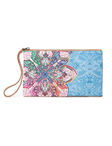 Desigual Damen Wallet Mexican Cards Monica Women Geldbörse, Blau (Azul Agua), 1x14x24 cm