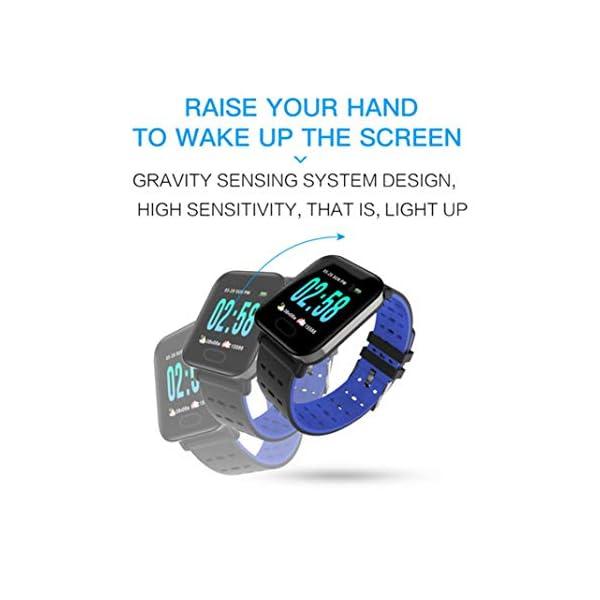 Pulsera inteligente con monitor de actividad física, pantalla de color A6, Bluetooth, monitor de ritmo cardíaco, podómetro, pulsera inteligente para niños, mujeres y hombres azul 8