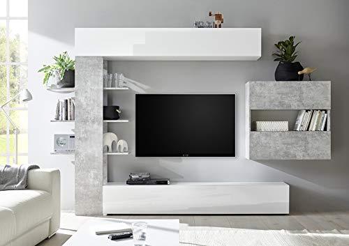 arredocasagmb.it Composizione Porta TV Bianca e Cemento Soggiorno Composizione Porta TV Moderno Design Sora