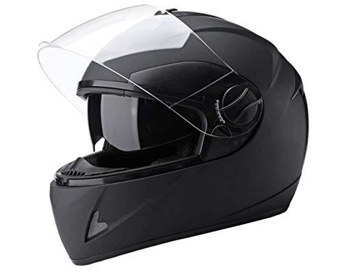 XGHW Elektrische Batterie Motorradhelm Männer und Frauen Vier Jahreszeiten Vollvisierhelm warmen Full-Cover-Helm (Farbe : SCHWARZ, größe : 58cm) -