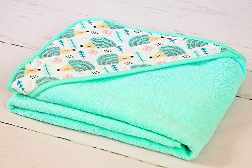 Babyboom Babyhandtuch mit Kapuze / 0-6 Jahre/extra weich - 100% Baumwolle - 100x100cm - für Mädchen & Jungen - Babyhandtuch mit Kapuze, Kinderhandtuch - Made in EU (Igel mint)