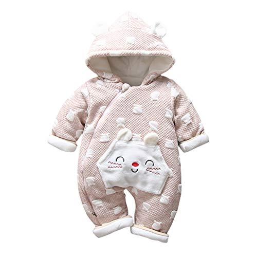 Livoral Baby-Winterjacke mit neugeborenem Kaninchenohr-Overall mit Reißverschluss und Kapuze (B-Kaffee, 2-6 Monate)