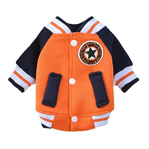 Herbst Und Winter Haustier Hund Kleidung Baseball Uniform Puppy Hoodie Cute Haustier Hund Jacke Puppy Coat Warm Pet Loaded,Orange,L