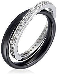 Mes-bijoux.fr - Bague Femme en Céramique Noire et Argent 925/1000 - 7BY927BAgv
