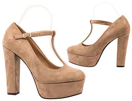 Elara - Scarpe con plateau Donna cachi