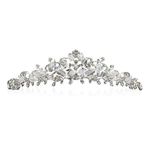 LJP Brautkrone,Diadem Handgefertigte Perlen Retro Stil Kristalle Braut Festzug Prom Hochzeit Reisen Leistung