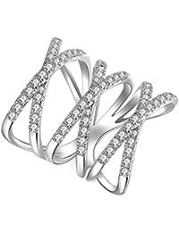 Aooaz Gioielli anello fascia anello fidanzamento anello argento sterling Crossover Argento anelli donna anello zirconi
