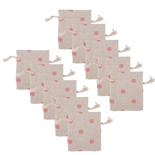 Galleria fotografica 10 X Fiore Di Rosa Biancheria Sacco Di Iuta Gioielli Sacchetto Coulisse Sacchetti Regalo Di Nozze