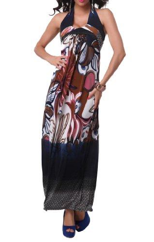 Waooh - Fashion - Bunten Langen Kleid Blumenmuster Gammu Schwarz