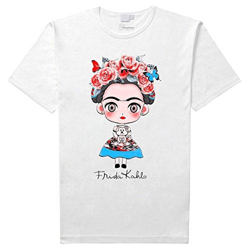 Frida khalo t-Shirt (S, Blanco)