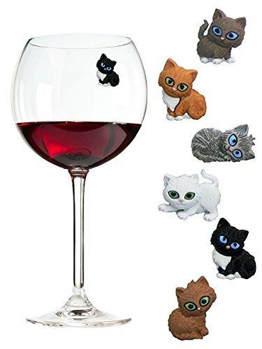 Magnetische Kätzchen Charms für Weingläser (auch stiellose) – Tolles Geschenk für Kaztenliebhaber – 6 Verschiedene Katzen im Set (Cat Charms Glas Wein)