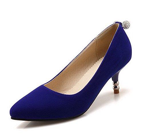 AllhqFashion Damen Ziehen Auf Spitz Zehe Mittler Absatz Nubukleder Eingelegt Pumps Schuhe Blau