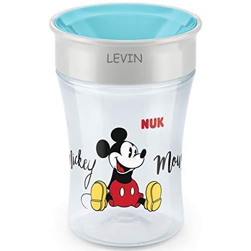 NUK Magic Cup, Trinklernbecher mit persönlicher Gravur, 230ml, ab 8 Monaten, Mickey Mouse (türkis)