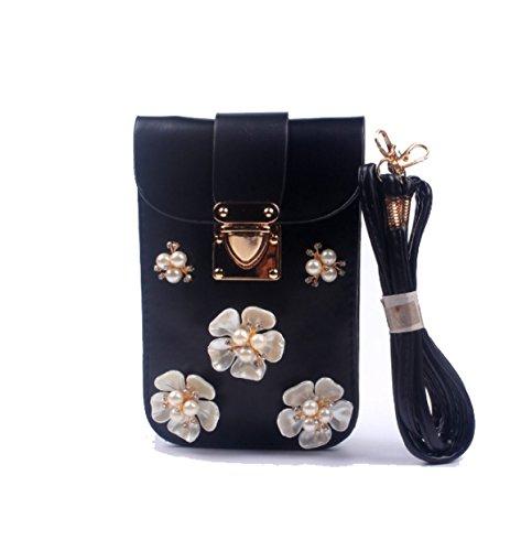 Strawberryer Fleurs Diamants Pétales De Perles Sacs De Téléphone Cellulaire Sacs à Chaînes De Loisirs Coins Messenger Bag i