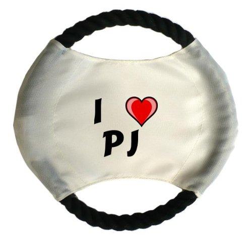 defrisbee mit Aufschrift Ich liebe Pj (Vorname/Zuname/Spitzname) ()
