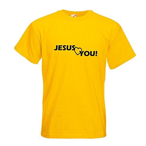 KIWISTAR - Jesus love you Christentum T-Shirt in 15 verschiedenen Farben - Herren Funshirt bedruckt Design Sprüche Spruch Motive Oberteil Baumwolle Print Größe S M L XL XXL Gelb
