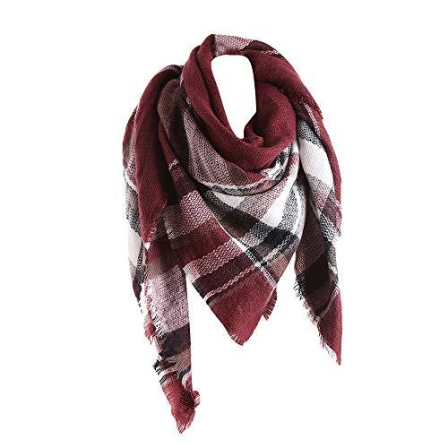 Dorical Freigabe Damen Winter warme Farben nähende lange Wolle Schal Plaid Eeicher Halstuch Mode