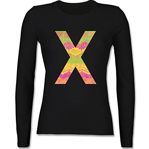 Statement Shirts - Neon Lace X - tailliertes Longsleeve / langärmeliges T-Shirt für Damen Schwarz