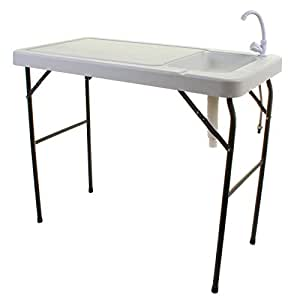 Marko Outdoor Camping Sink Tap Blow Moulded White Table Unit Cooking Fishing Folding