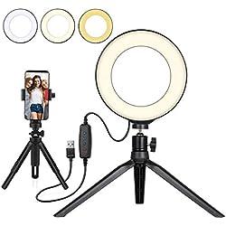 """Beauty LED Ring Light Dimmable Selfie Light Kit Maquillage Photographie Éclairage Mini Cercle Lampe de bureau avec de téléphone portable pour YouTube Vidéos/Photo/ Streaming/instagram(6"""")"""