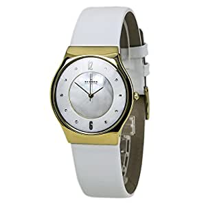 Skagen SKW2027 Watch Gold Tone Stainless Steel Case Leather Strap Mother of Pearl Dial