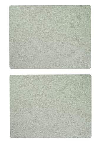 Lind DNA Leder Tischset Platzset Square Leder | Hippo Olive Green grün L 35x45 cm | 2 Stück im Dekomiro Set mit 50 ml Reinigungsmittel Olive Green Teller