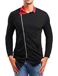 BUSIM Men's Long Sleeve Shirt Autumn Personality Diagonal Zipper Casual Slim Solid Color Lapel Trend Fashion T-Shirt...