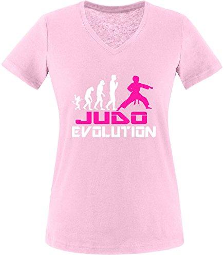 EZYshirt® Judo Evolution Damen V-Neck T-Shirt Rosa/Weiss/Pink