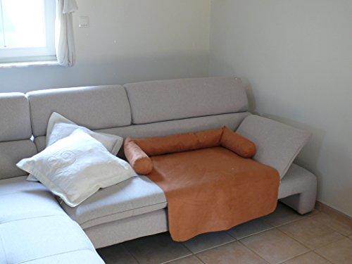 Artur Soja Mila Hundebett Couch aus ALKANTARA - L/XL 110 x 110cm ORANGE Sesselschutz Sofaschutz COUCHPROTECT -