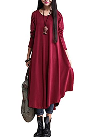 Vogstyle Femme Nouveau Automne Col Rond Grand Hem Pull Robe Wine Red